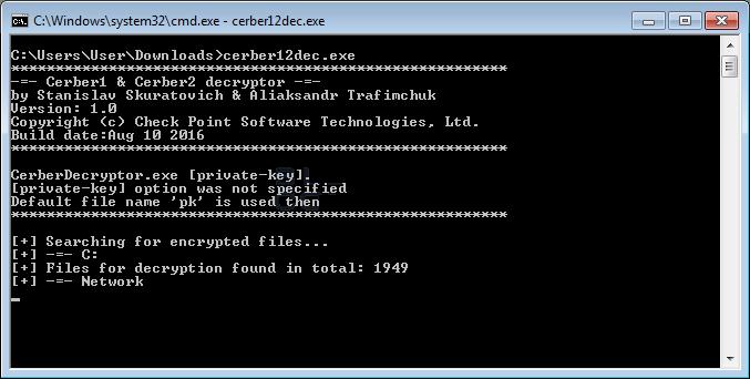 Decriptare i file cerber