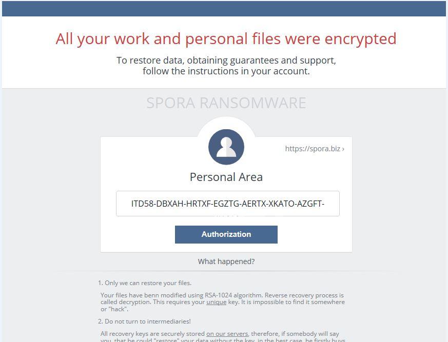 Spora ransomware recuperare file criptati